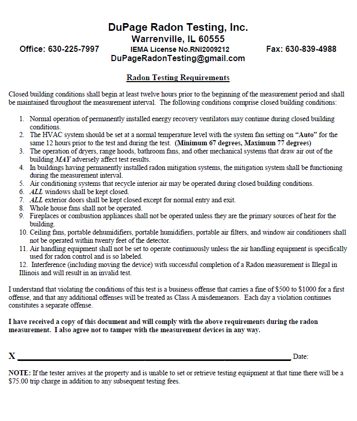 Illinois licensed radon testers