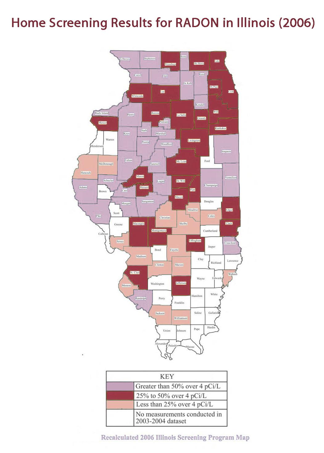 Radon Risks - ge Radon Testing, Inc. on illinois gold map, illinois selenium map, illinois energy map, illinois mine subsidence map, illinois wetlands map, illinois science map, illinois co map, illinois water map, illinois air quality map, illinois pollution map, illinois well map, illinois soil map,